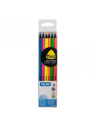 Estuche 6 lápices fluor...